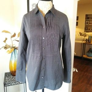 J. Crew Gray Pleated Button Down Shirt. Sz.6